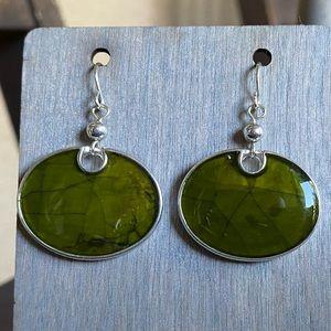 Green glossy earrings